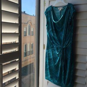 Michael Kors green watercolor print slip dress
